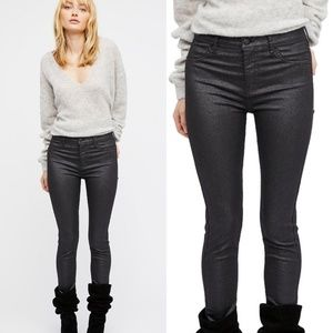 Free People Black Glitter Skinny Jeans
